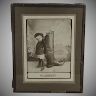 Vintage Photograph with Little Boy and Very Large Rubber Boot - 1910