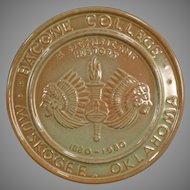Vintage Frankoma Pottery Trivet - Bacone College Centennial - Prairie Green Glaze