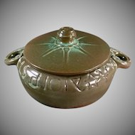 Vintage Frankoma Pottery - Wagon Wheel Covered Casserole #94V - Green Glaze