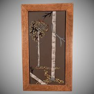 Framed Ceramic Art Tile with Aspen Trees - Attractive Accent Piece