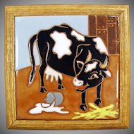 Framed Cow and Spilt Milk Ceramic Art Tile - Colorful Kitchen Accent