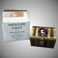 Vintage Treasure Chest Coin Bank – Pirate Chest with Lock and Original Box