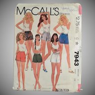 Vintage McCall's Pattern #7943 - Miss Size 8 - 1982 Short Shorts