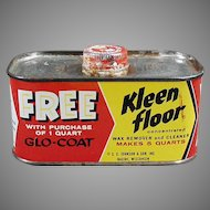 Vintage Johnson Wax Kleen Floor Tin - 1930's - 1950's Kitchen Advertising