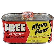 Vintage Johnson Wax Kleen Floor Tin - 1930's - 1950's Kitchen Advertising