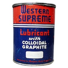 Vintage Western Auto Supreme Lubricant Automotive Grease Tin