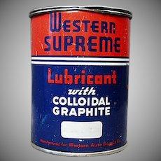 Vintage Western Auto Supreme Lubricant Automotive Grease Tin