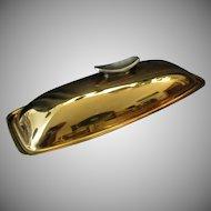 Vintage Gorham Giftware Covered Butter Dish – L775 Gold Tone Finish Retro Design
