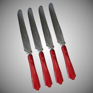 Vintage Deco Kitchen Utensils – Four Cherry Red Bakelite Handled Stainless Steel Dinner Knives