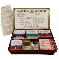 Vintage Samaritan First Aid Kit Tin - Bauer & Black Curity Medical Products
