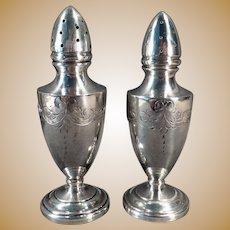 Vintage Sterling Salt and Pepper Set – Vanderbilt Sterling Silver Weighted Shakers