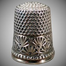 Vintage Sterling Silver Sewing Thimble - Ketcham and McDougall – Deco Fan Design
