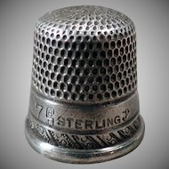 Vintage Sterling Silver Thimble - Goldsmith Stern – Child's Size, Small