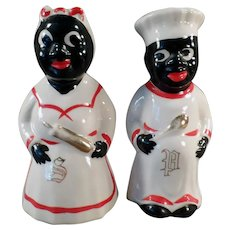 Vintage Mammy and Chef Salt and Pepper with Gold Trim - 1950's Black Memorabilia