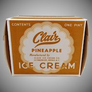 Vintage Clair Ice Cream Carton – One Pint Pineapple I.C. Box
