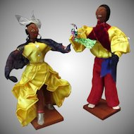 Vintage Cloth Cuban Doll Set – Dancing Couple with Bright Costumes
