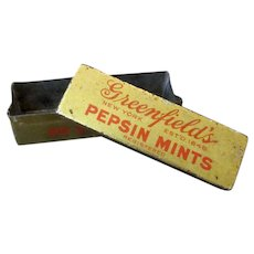 Vintage Greenfield's Pepsin Mints Tin – Cupid Brand late 1800's