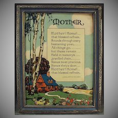 "Vintage Motto Print ""Mother! Home!"" Poem by John Jarvis Holden - 1920's"