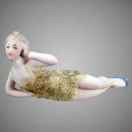 Vintage German Porcelain Bathing Beauty – Reclined Pose in Texture Swim Suit