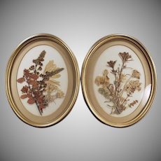 Vintage Wall Hangings - Dried Flower Bouquets - Framed Pair