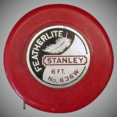 Vintage Stanley Featherlite Tape Measure - No. 636W - 6 Foot