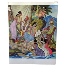 Vintage S.S. Lurline Matson Lines Menu with Colorful Aloha Cover - 1949