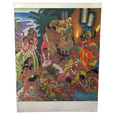 Vintage S.S. Lurline Matson Lines Menu with Colorful Hawaiian Luau Cover - 1949