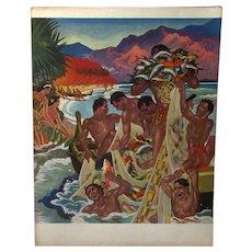 Vintage S.S. Lurline Matson Lines Menu with Colorful Hawaiian Fishing Cover - 1949