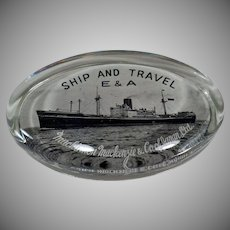 Vintage Glass Paperweight with Steamship - Mackinnon Mackenzie of Japan
