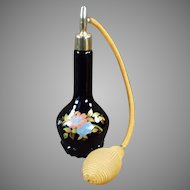 Vintage Black Glass Perfume Atomizer Bottle with Floral Decoration