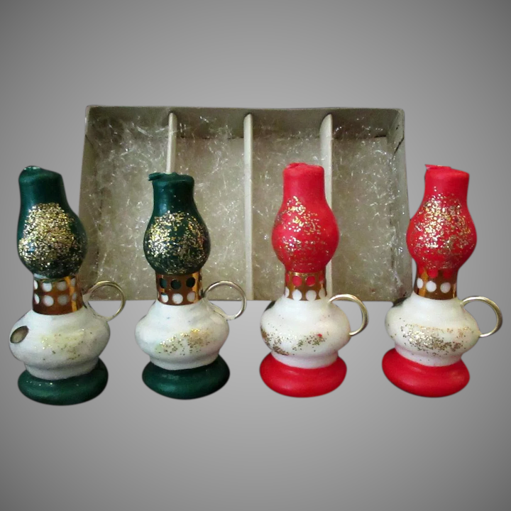 Vintage Christmas Candles.Vintage Christmas Novelty Candles Red Green Hurricane Lamps With Original Box
