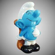 Vintage Blue Smurf Ceramic Bank - Belly Laughing Penny Bank