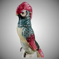 Vintage Flower Frog - Colorful Bird Figure with Long Tail Feathers