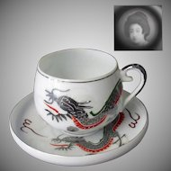 Vintage White Dragonware Cup and Saucer with Geisha Lithophane – Silver Dragon