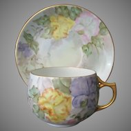 Vintage Hand Painted Paul Muller Selb Bavarian Cup & Saucer with Pastel Floral Design
