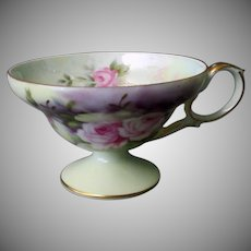 Vintage Lefton China Tea Cup with Pretty Rose Design & Iridescent Bowl