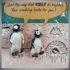 Vintage Kool Cigarettes Advertising Willie and Millie Penguin Scatter Pins - Original Packaging