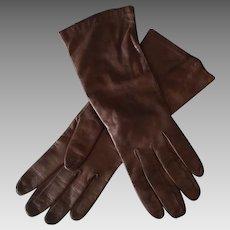 Vintage Brown Kid Leather Gloves – Made in France