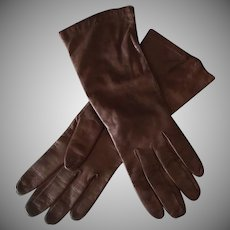 Vintage Brown Kid Leather Gloves – Made in France