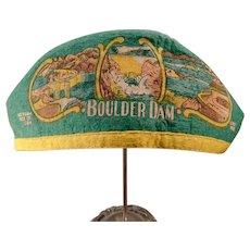 "Vintage Boulder Dam Felt Souvenir Cap with ""I'm from Idaho"" on Hat"