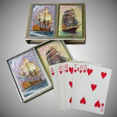 Vintage Congress Cel-u-Tone Playing Cards - Double Deck Set with Ships