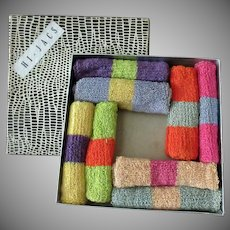 Vintage Hi-Jacs Knit Highball Glass Socks - Coaster Set with Original Box