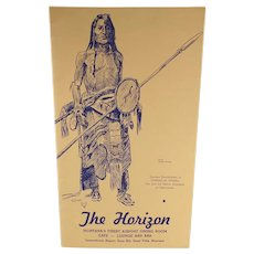 Vintage Horizon Restaurant Menu – Charles Russell Sioux Indian Sketch - Buffalo Hunter
