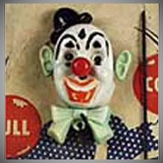 Vintage Jumpin' Jiminy Clown Lapel Pin -  Plastic Action Toy with Original Packaging