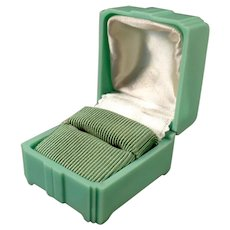 Vintage Mint Green Bakelite Ring Box with Deco Shape