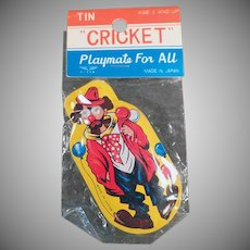 Vintage Tin Clown Cricket Clicker Toy with Original Package