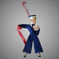 Vintage Felt Sailor Doll with Pinback Button - M.N. Vulcania Souvenir