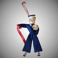 Vintage Felt Sailor Doll with Pinback Button - M.N. Vulcania Souvenir