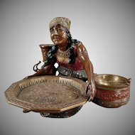 Vintage Peasant Woman Card Receiver and Ashtray - Stunning Desk Item