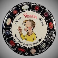 Vintage Celluloid Advertising Mirror - Skeezix Shoes and Birthstone Chart